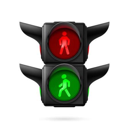 semaforo peatonal: Semáforos peatonales realistas con las luces rojas y verdes sobre. Ilustración sobre fondo blanco Vectores
