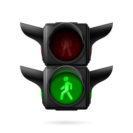 Realistic pedestrian traffic lights with green light on. Illustration on white background Vector