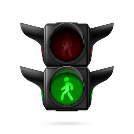 semaforo peatonal: Tráfico peatonal realista ilumina con luz verde. Ilustración sobre fondo blanco