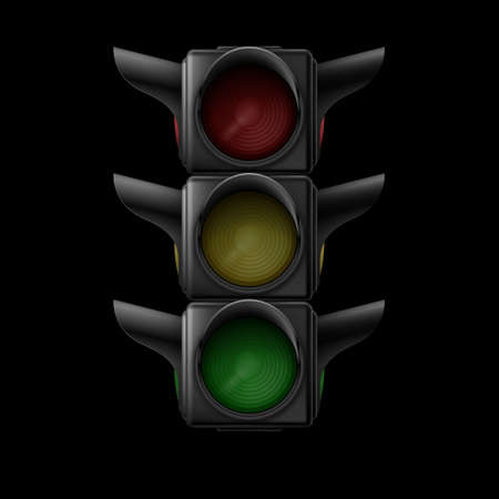 Realistic traffic lights off. Illustration on black background Vector