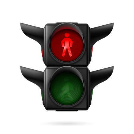 Realistic pedestrian traffic lights with red lamp on. Illustration on white background illustration