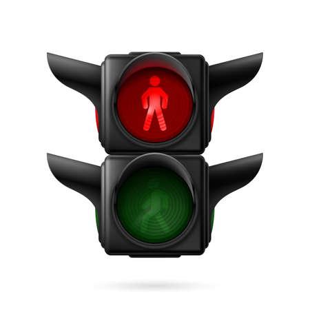 semaforo peatonal: Tráfico peatonal realista ilumina con la lámpara encendida. Ilustración sobre fondo blanco
