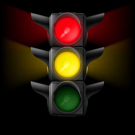 Realistic traffic lights with red and yellow lights on. Illustration on black  Vector