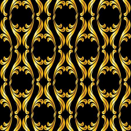 gold swirls: Seamless floral pattern in golden shades on black background Illustration
