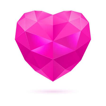 amethyst: Pink polygonal heart on white background. Amethyst gem Illustration
