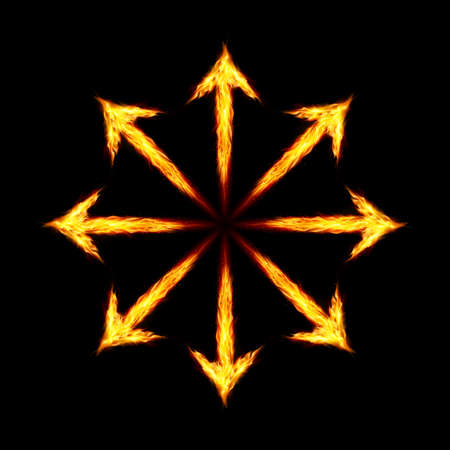 outwards: Many fire arrows directed outwards. Illustration on black background