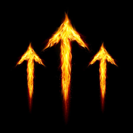 directed: Three fire arrows directed upward. Illustration on black background