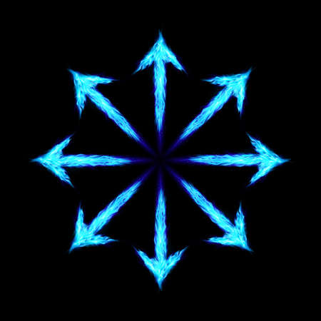 the energy center: Many green fire arrows directed outwards. Illustration on black background