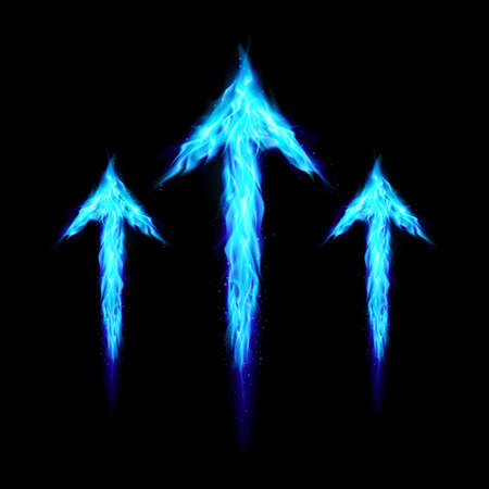 Three blue fire arrows directed upward. Illustration on black background  Vector