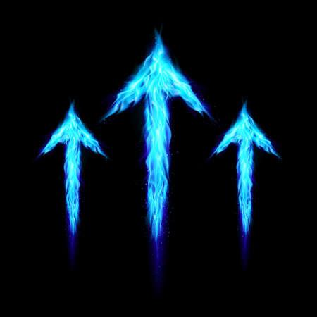 upward: Three blue fire arrows directed upward. Illustration on black background