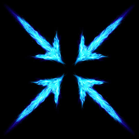 blue flame: Four blue fire arrows directed to the centre. Illustration on black background Illustration
