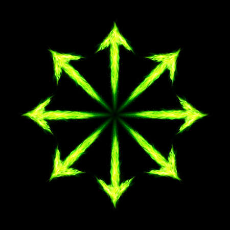 directed: Many green fire arrows directed outwards. Illustration on black background