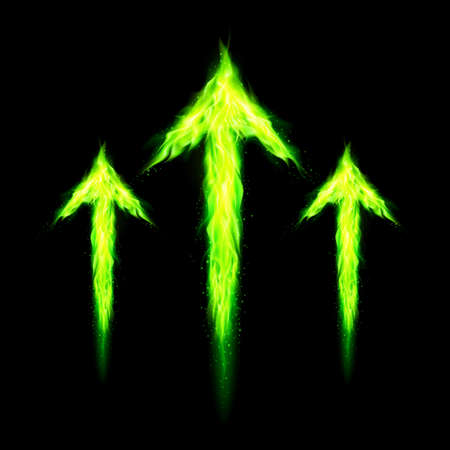 Three green fire arrows directed upward. Illustration on black background Vector