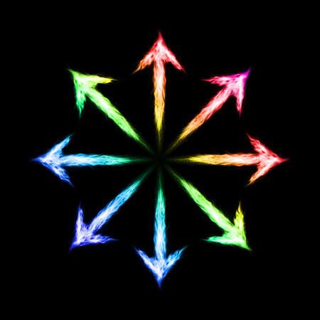 burn out: Vele kleurrijke vuur pijlen naar buiten gericht. Illustratie op zwarte achtergrond