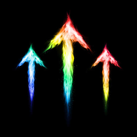 directed:  Three colorful fire arrows directed upward. Illustration on black background  Illustration
