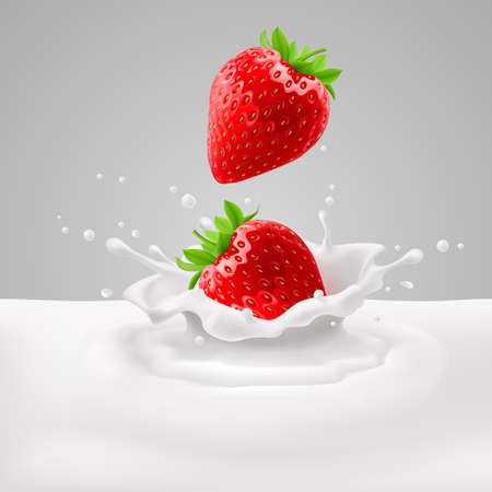 rich in vitamins: Appetizing strawberries with green leaves falling into milk with splashes