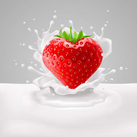 rich in vitamins: Strawberry heart with green leaves in milk splashes