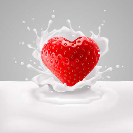 Appetizing strawberry heart in milk splashes. Love for food Vector