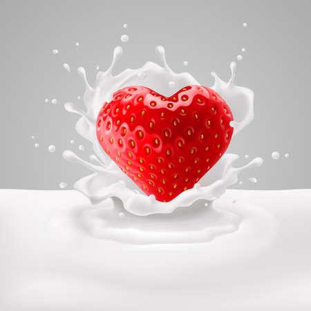 yogur: Corazón Fresa apetitosa en salpicaduras de leche. El amor por la comida