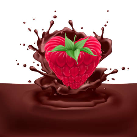 chocolaty: Appetizng raspberry heart dipping into chocolate with splashes