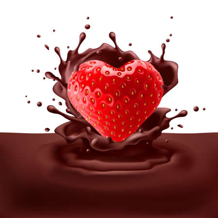 dipping: Appetizing strawberry heart dipping into chocolate with splashes Illustration