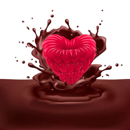 dipping: Appetizing raspberry heart dipping into chocolate with splashes