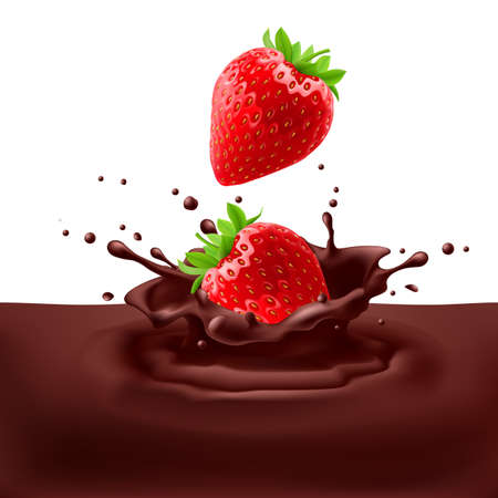 dipping: Appetizing strawberries dipping into chocolate with splashes Illustration