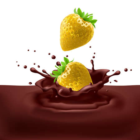 chocolaty: Appetizing yellow strawberries dipping into chocolate with splashes Illustration