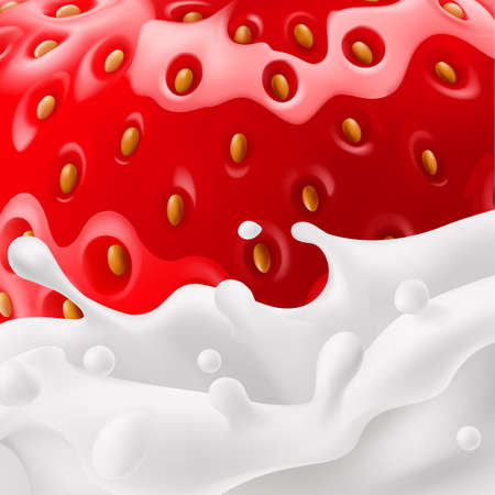 Food background of strawberry with milk splashes in close-up