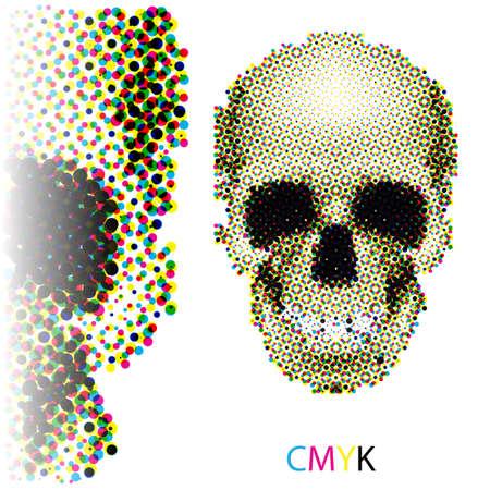 horrid: Halftone skull image in CMYK colors on white background Illustration