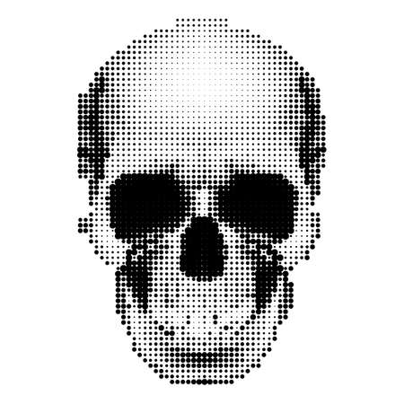 Halftone skull image in black and white. Danger sign Vector