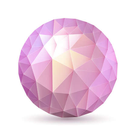 crystalline: Abstract polygonal sphere in pink and purple shades on white background