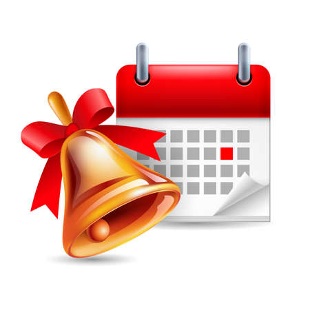 period: School bell and calendar with marked day. School event. Back to school icon