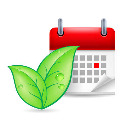 environmental policy: Green leaves and calendar with marked day. Eco event icon Illustration