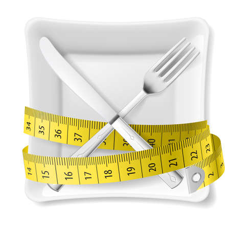 measuring tape: Square plate with measuring tape and crossed fork and knife. Diet concept