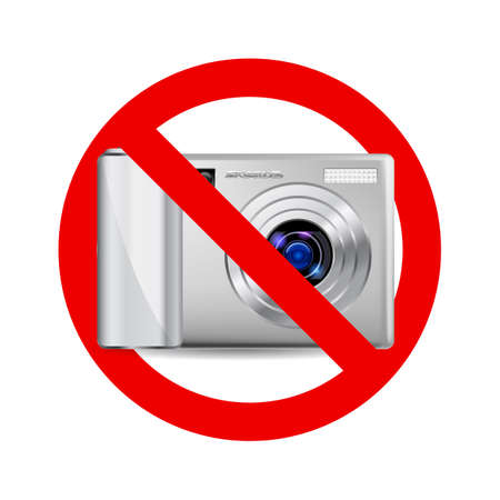 disallow: No camera sign. Prohibitory sign on white background Illustration