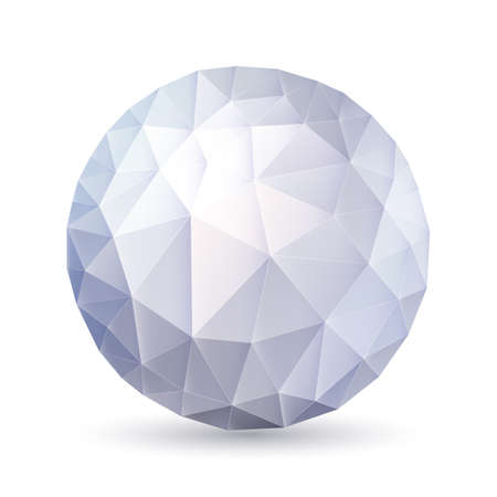 Abstract silver polygonal sphere on white background Vector