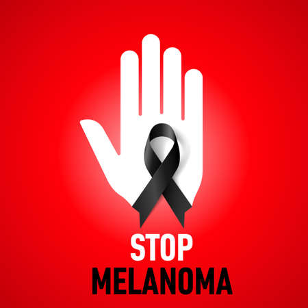 hand stop: Stop Melanoma sign.  White hand with black ribbon on red background Illustration