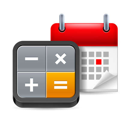 Calculator and calendar with marked day on white background Vector