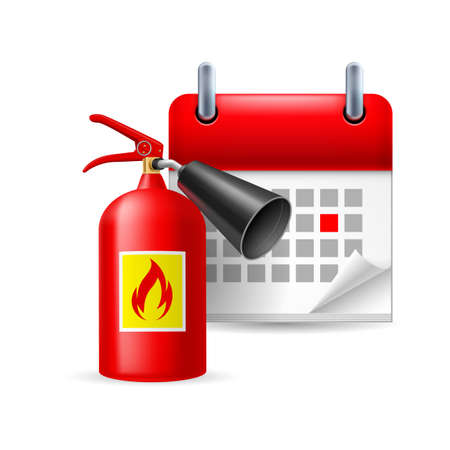 emergency plan: Fire extinguisher and calendar with marked day. Firefighters Day Illustration