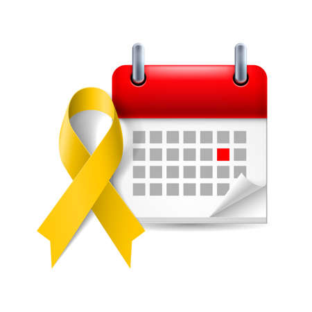 troops: Yellow awareness ribbon and calendar with marked day. Bone cancer and troops support symbol