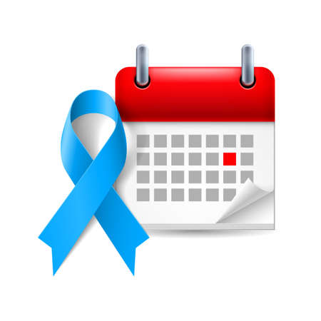 colon cancer: Blue awareness ribbon and calendar with marked day. Colon cancer, child abuse, Stevens  - Johnson syndrome symbol