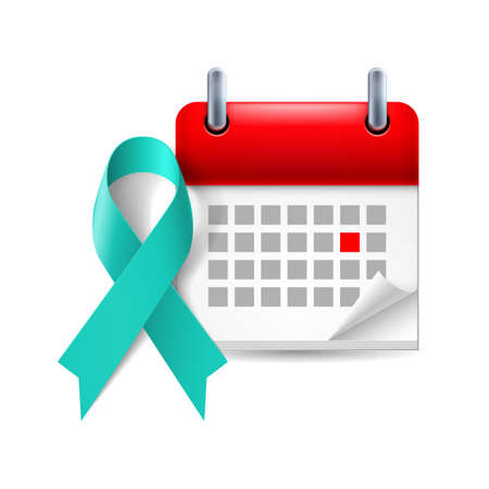 period: Teal awareness ribbon and calendar with marked day. Symbol of scleroderma, ovarian cancer, food allergy, tsunami victims, kidney disease, sexual assualt Illustration