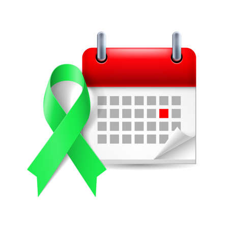 Green awareness ribbon and calendar with marked day. Kidney cancer symbol Vector