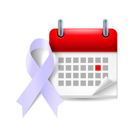 period: Lavender awareness ribbon and calendar with marked day. Epilepsy and cancer symbol Illustration