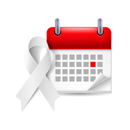 White awareness ribbon and calendar with marked day. Lung cancer, violence against women and safe motherhood symbol Vector