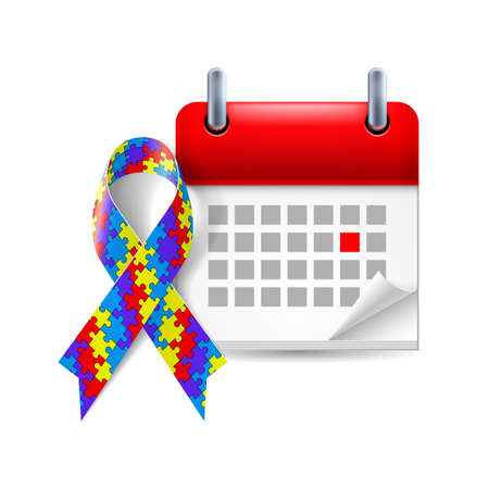 Puzzle awareness ribbon and calendar with marked day. Autism symbol Vector