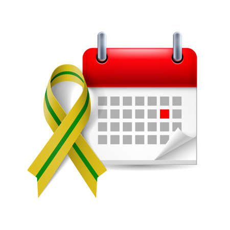 Olive-green awareness ribbon and calendar with marked day.   Illustration
