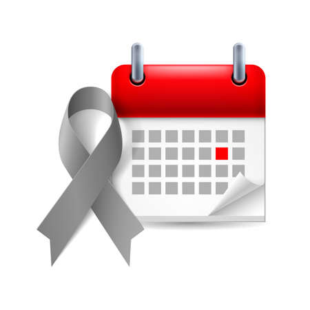 brain cancer: Gray awareness ribbon and calendar with marked day. Diabetes, asthma, brain cancer symbol