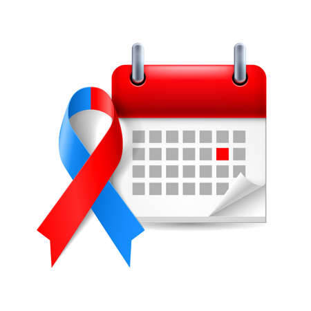 period: Red and blue awareness ribbon and calendar with marked day. Noonan syndrome, Congenital Heart Defect symbol